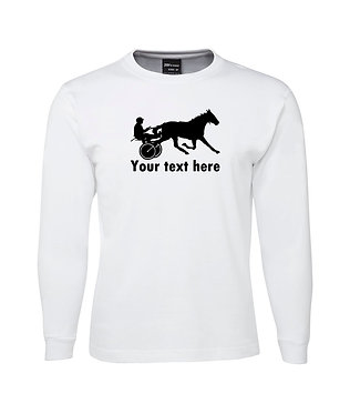 Mens long sleeve t-shirt personalised horse harness racing white with black image front view