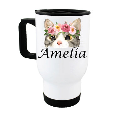 Travel mug with personalized cat face with flowers and name image front view