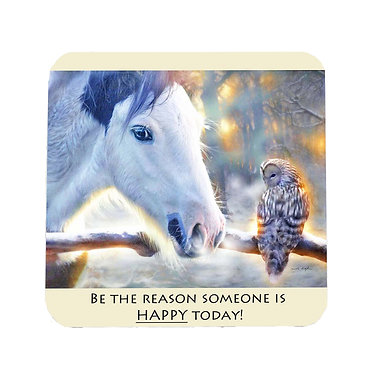 """Neoprene drink coaster with horse and quote """"be the reason"""" image front view"""