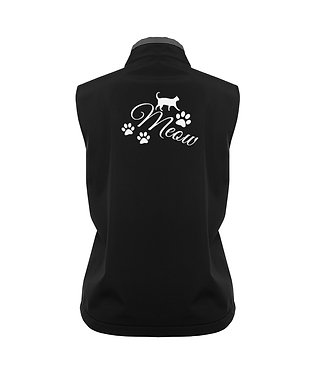 Ladies soft shell vest black with charcoal trim cat meow back view image