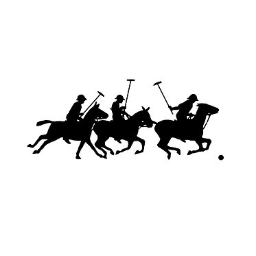 Polo players horse decal sticker front view in black