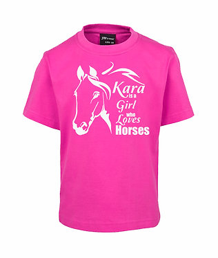 Personalised hot pink kids cotton t-shirt a girl who loves horses image front view