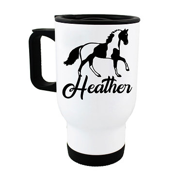 Personalised travel mug stainless steel paint horse image front view