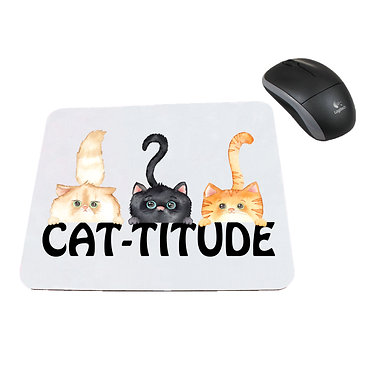 Neoprene computer mouse pad three cats with cat-titude image front view