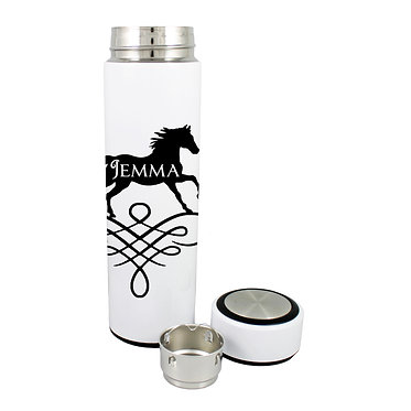 Personalised thermos flask drink travel bottle 500ml stainless steel horse on scroll black image front lid off view