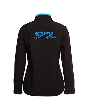 Black with aqua linning and accents with horse image softshell jacket back view