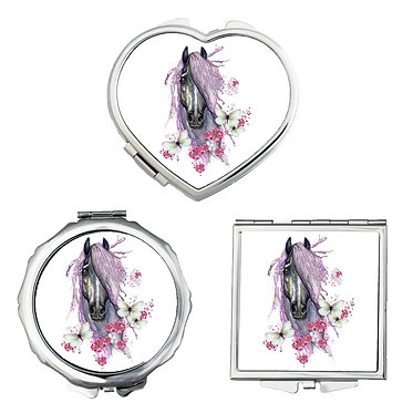 Compact mirrors in 3 shapes heart, round and square purple horse with butterflies image front view