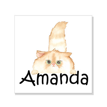 Square art print on card stock personalized with fluffy cat image front view