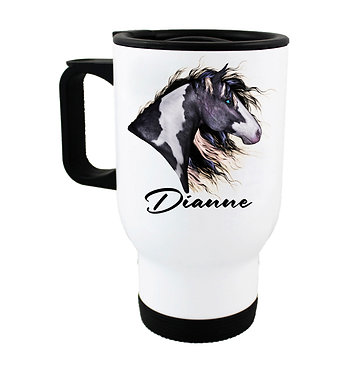 Personalised travel mug stainless steel black and white horse image front view
