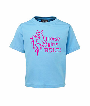 Light blue kids cotton t-shirt horse girls rule pink image front view