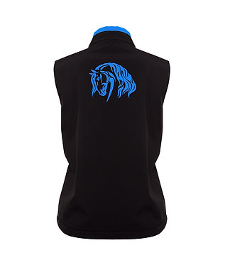 Ladies softshell vest black with aqua beautiful heavy horse image back view