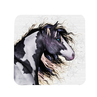 Black & white paint horse square neoprene drink coaster front view