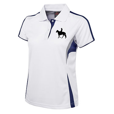 Ladies horse cool polo shirt white navy live to ride with three horse riders image front view