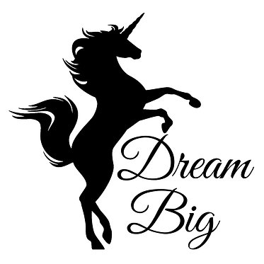 """Unicorn rearing with quote """"dream big"""" vinyl decal sticker in black front view"""