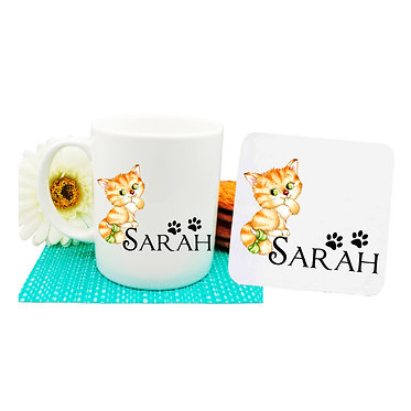 Ceramic coffee mug and drink coaster set personalized cute cat with bow image front view