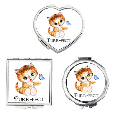 Compact mirrors round, square, heart shapes with cute kitty purr-fect image front view