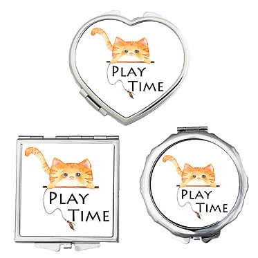 Compact mirror set shapes round, square, heart with ginger cat play time image front view