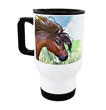 Travel mug stainless steel with beautiful horse image front view