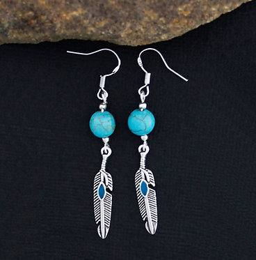 FEATHER EARRINGS WITH TURQUOISE GEMSTONE BEAD