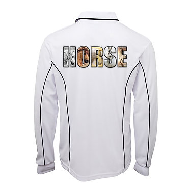 White with navy pipping adults long sleeve polo top horse image back view