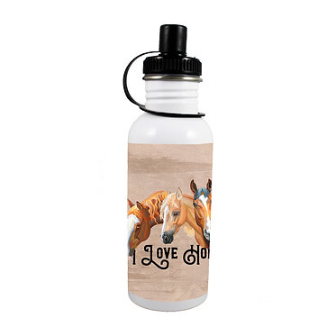 Stainless steel water bottle with I love horses image front view