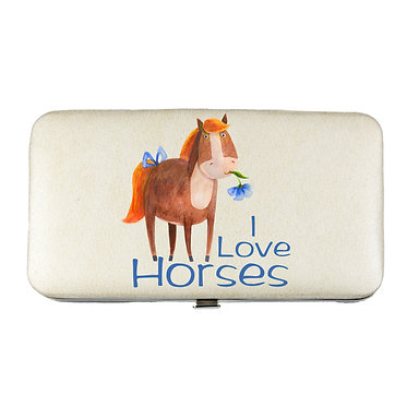 Ladies hard case purse wallet with mobile phone mount inside cute I love horses image view