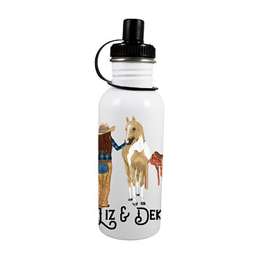Personalised stainless steel water bottle brown haired cowgirl and horse image front view