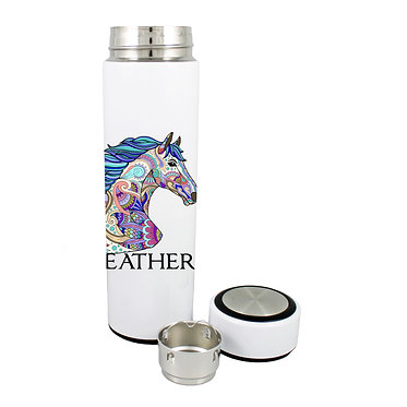 Personalised thermos flask 500ml stainless steel painted horse image front lid off view