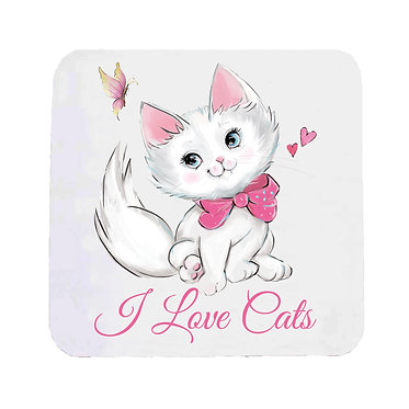 "Neoprene drink coaster pink kitty and quote ""I love cats"" image front view"