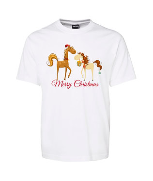 Adults t-shirt white 100% cotton with two Christmas horses and merry Christmas front view