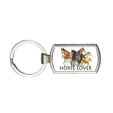 Rectangle metal key-ring horse lover image front view