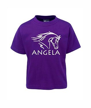 Personalised purple kids cotton t-shirt horse head image front view