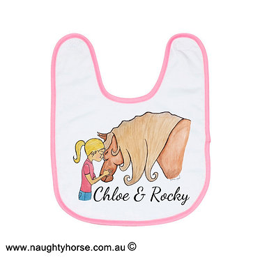 Babies bib personalized white with pink trim horse and girl friendship image front view