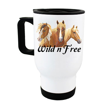 """Travel mug with horse and quote """"Wild n free"""" image front view"""