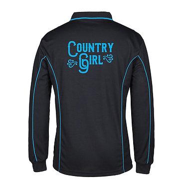 Adults long sleeve polo shirt black aqua country girl image back view