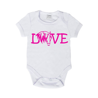 Baby romper play suit white with hot pink horse girl rule image front view