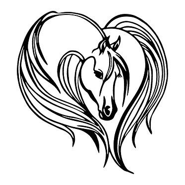 Horse vinyl decal sticker majestic horse in black front view