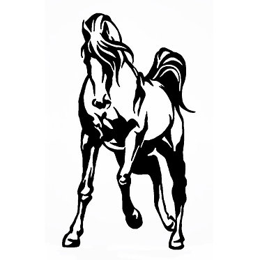 Horse trotting vinyl decal sticker in black front view