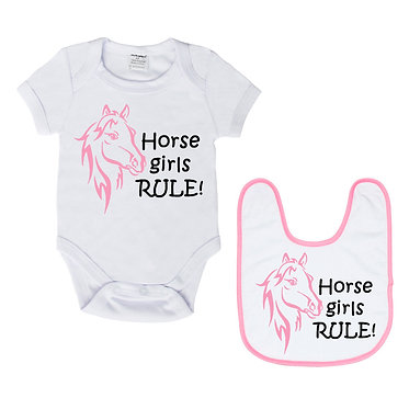 Baby romper play suit and matching bib gift set in white with soft pink horse girls rule image front view