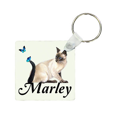 Personalized square keyring cat with butterflies with name image front view