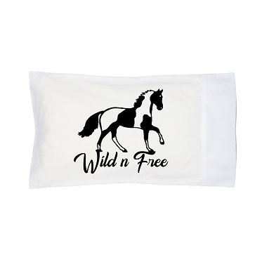 Pillowcase white with wild n free paint horse image front right view