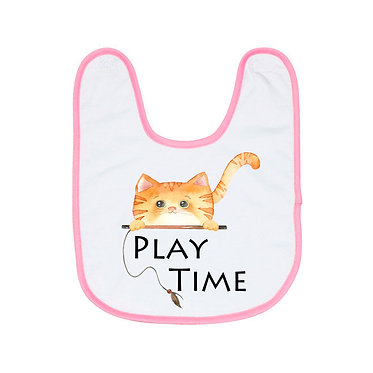 Babies bib with pink trim and ginger cat play time image front view