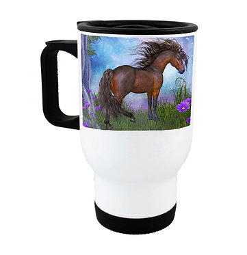 Travel mug stainless steel with horse in forest image front view