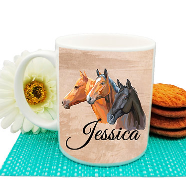 Personalised ceramic coffee mug with three horses image front view