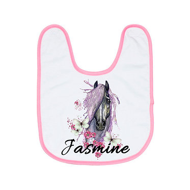 Babies bib personalised white with soft pink trim purple horse image front view