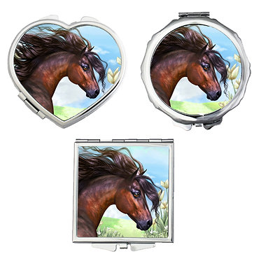 Compact mirrors in 3 shapes heart, round and square beautiful bay horse image front view