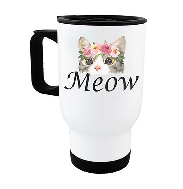 Travel mug cat meow image front view