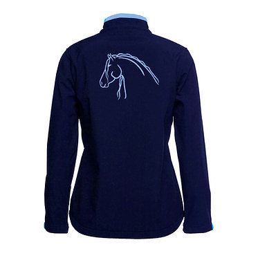 Ladies softshell jacket navy with light blue beautiful heavy horse image back view
