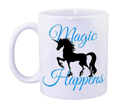 Blue unicorn coffee mug front view