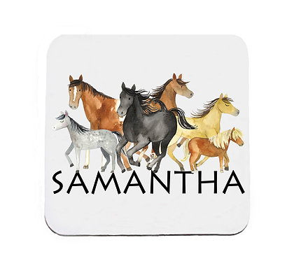 Personalised neoprene drink coaster sets personalised group of horses image front view
